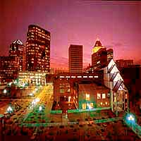 Skyline of Downtown Greensboro at Sunset in North Carolina